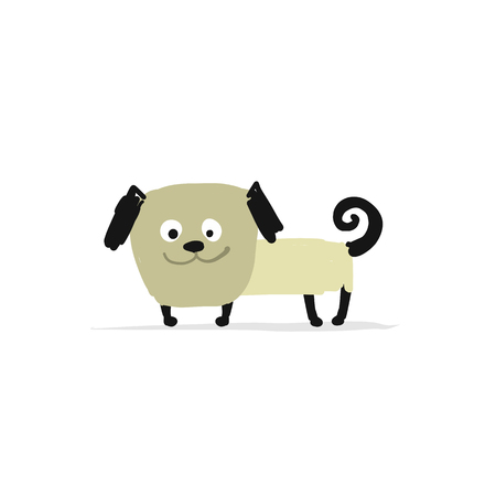 Funny pug dog sketch for your design Illusztráció