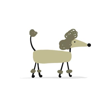 Funny dog caniche croquis pour votre conception Banque d'images - 90056585