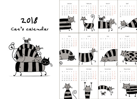 Calendar with funny striped cats design. Illustration