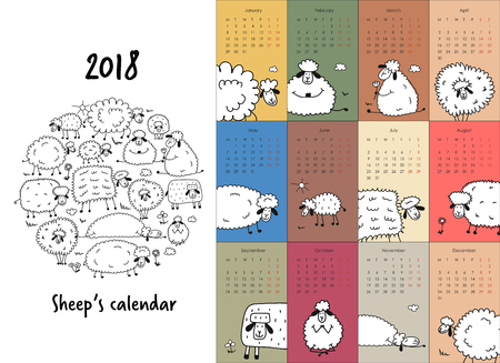 Calendar with funny sheeps design. Illustration