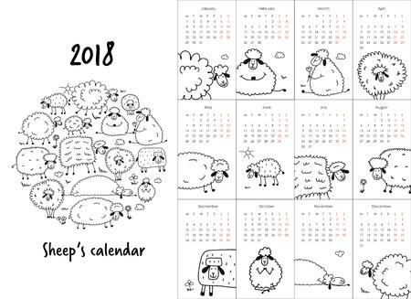 Calendar with funny sheeps design. Illustration