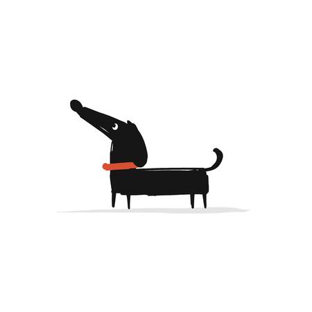かわいいダックスフント犬、あなたの設計のためのスケッチ  イラスト・ベクター素材