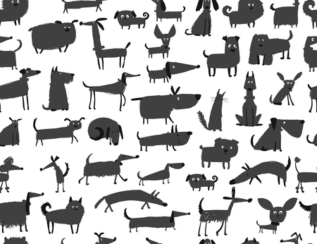 Cute dogs collection, seamless pattern for your design Çizim