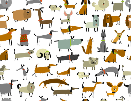 Cute dogs collection, seamless pattern for your design Stock Illustratie
