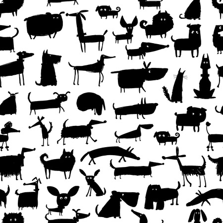 Cute dogs collection, seamless pattern for your design Stok Fotoğraf