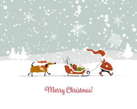 Santa Claus with dog, symbol of 2018. Christmas card