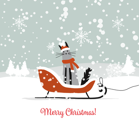 Christmas card design, sledge with santa cat