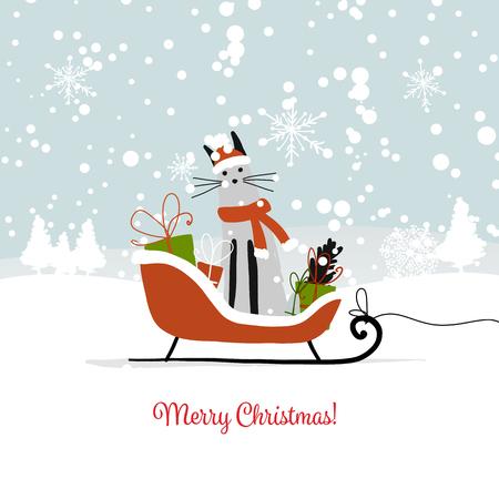 Conception de cartes de Noël, luge avec Santa Cat Banque d'images - 90411584