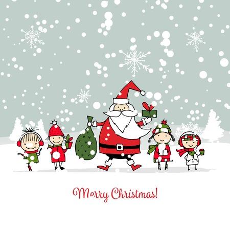 子供とサンタクロース。クリスマスカード  イラスト・ベクター素材