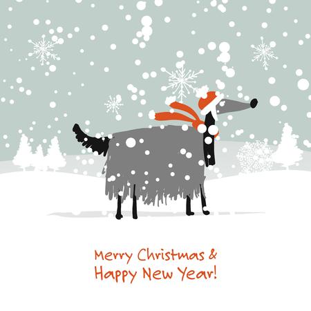 クリスマスカード 森のサンタ犬2018年のシンボル
