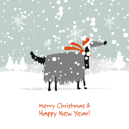 Christmas card, santa dog in forest. Symbol of 2018 Illustration