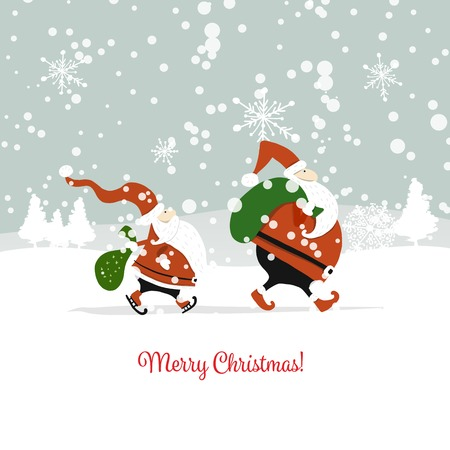 Santa brothers in winter forest. Christmas card