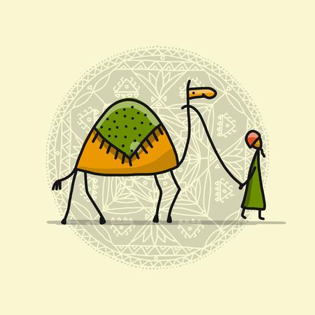낙타 스케치와 남자 일러스트
