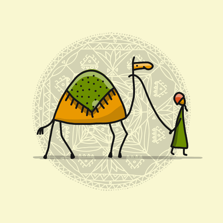 Camel sketch and a man