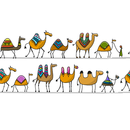 Camels caravan pattern design  イラスト・ベクター素材