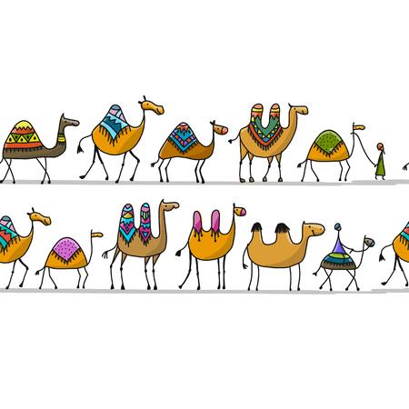 Camels caravan pattern design Vectores