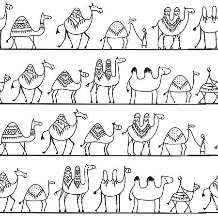 Projeto sem emenda do teste padrão da caravana dos camelos. Foto de archivo - 90373315