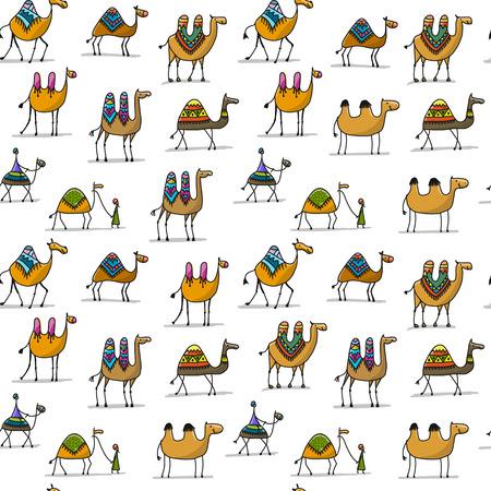 낙 타 캐 러 밴 원활한 패턴 디자인입니다.
