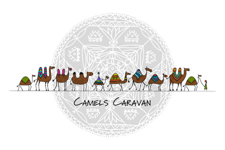 Camels caravan sketch pattern design. Vectores