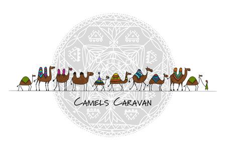 Camels caravan sketch pattern design. Stock Illustratie