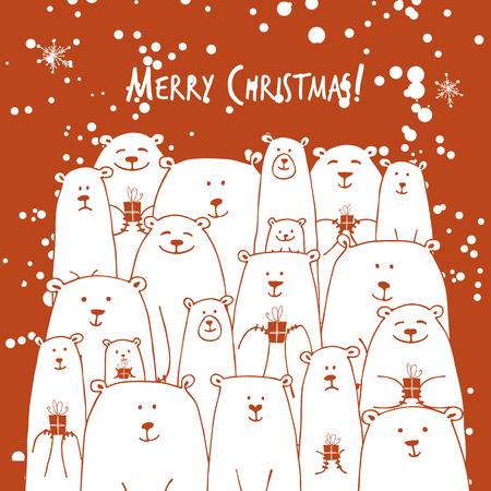 白いクマの家族とクリスマスカード  イラスト・ベクター素材