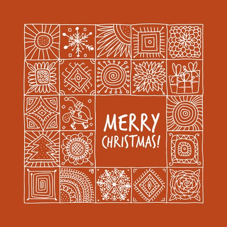 Christmas card with geometric ornament for your design Illustration
