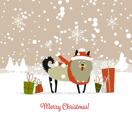 크리스마스 카드, 선물을 가진 산타 강아지입니다. 2018의 상징 벡터 일러스트 레이 션.