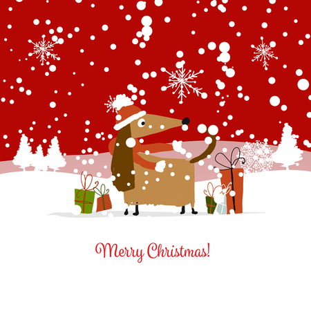 Christmas card, santa dog with gifts. Symbol of 2018 Vector illustration. Çizim