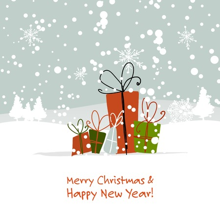 Christmas gifts, greeting card for your design Vector illustration.