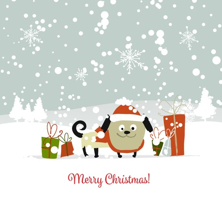 Christmas card, santa dog with gifts. Symbol of 2018 Vector illustration. Illustration