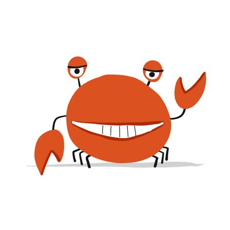 Funny crab, sketch for your design. Vector illustration
