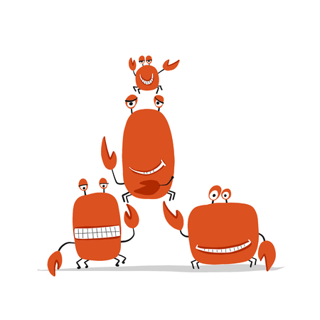 Funny friends crabs, sketch for your design