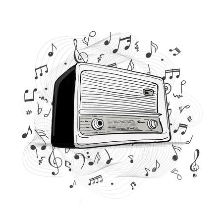 Radio rétro, croquis pour votre conception Banque d'images - 90750860