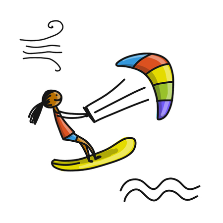 Kiteboarding, sketch for your design Banco de Imagens - 91006168