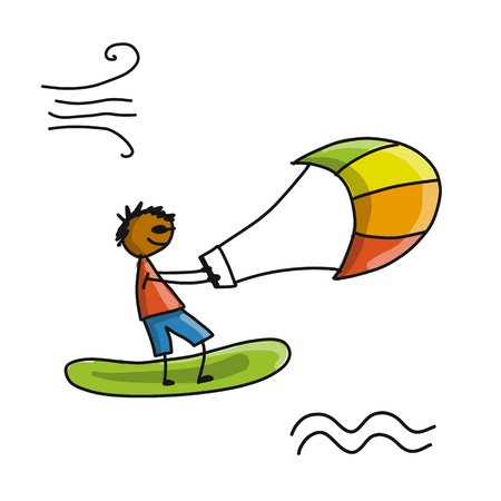 Kiteboarding, sketch for your design Stock Photo - 91006169