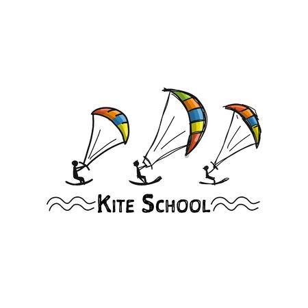 Kitesurfen, schets voor uw ontwerp