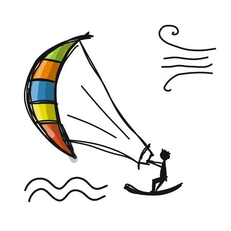 Kiteboarding sketch design Vektorové ilustrace