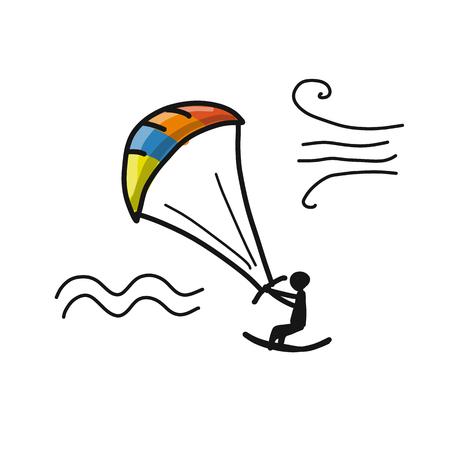 Kiteboarding, sketch for your design.
