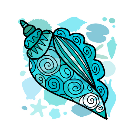 Ornate seashell vector illustration