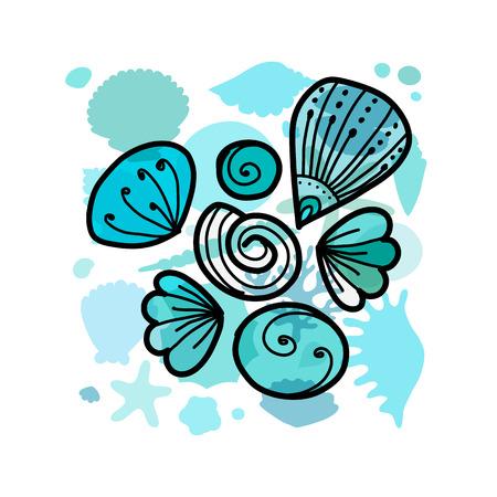 Marine background, ornate seashells vector illustration Illustration