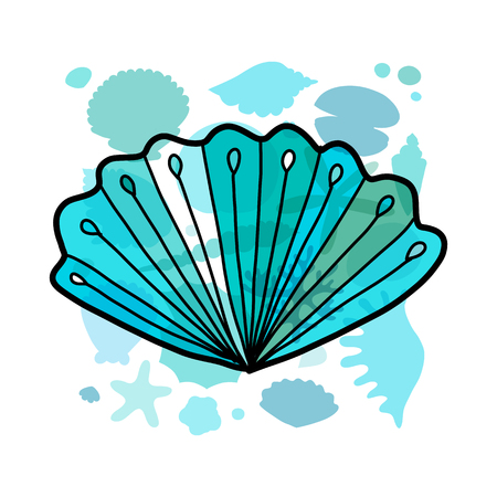 Marine background, seashell for your design