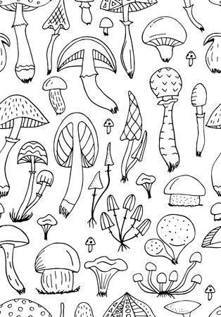 Paddestoelen, naadloos patroon voor uw ontwerp Stock Illustratie