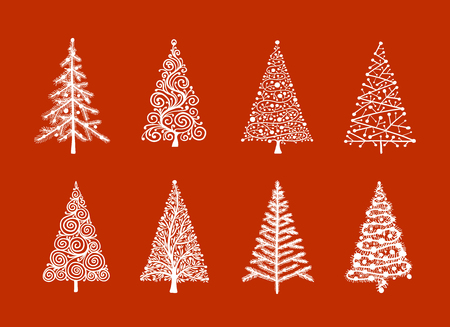 Christmas tree collection for your design. Illustration