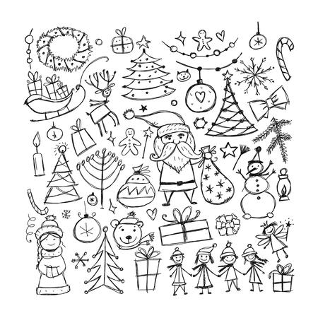 Christmas set, sketch for your design. Vector illustration Illustration