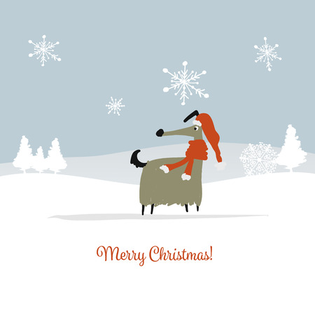 Christmas card, santa dog in forest. Symbol of 2018. Vector illustration Çizim