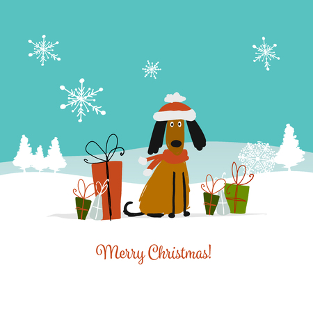 Christmas card, santa dog with gifts. Symbol of 2018. Vector illustration