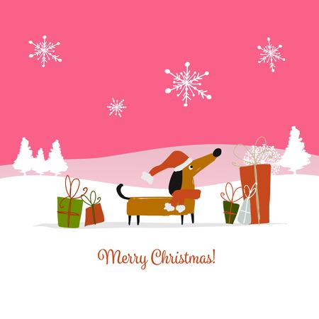 クリスマスカード、贈り物とサンタ犬。2018年のシンボル。ベクトルイラスト