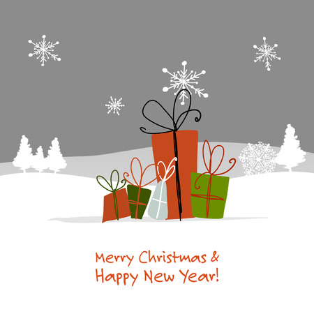 Christmas gifts, greeting card for your design Stock Illustratie