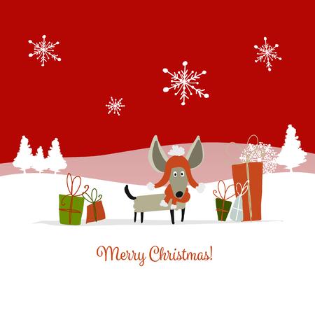 クリスマスカード、贈り物とサンタ犬。2018年のシンボル
