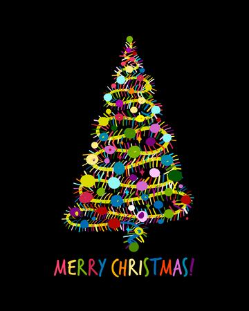 クリスマスツリー、あなたのデザインのためのグリーティングカード 写真素材